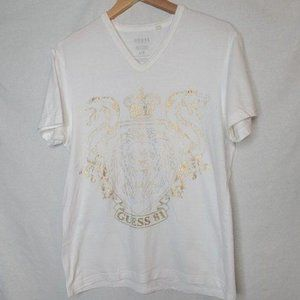 Guess V-neck Short Sleeve Cotton Graphic Tshirt